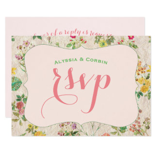 Vintage Floral Pink Yellow & Green Elegant Wedding Card