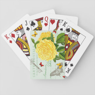 Vintage floral playing cards w/ yellow rose