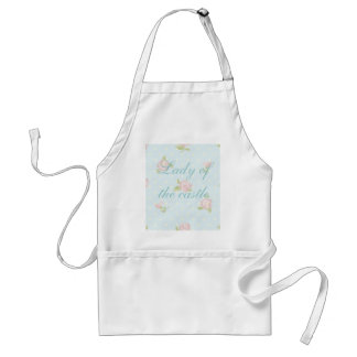 vintage floral polka dot blue red white shabby apron