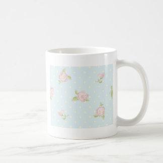 vintage floral polka dot blue red white shabby coffee mug