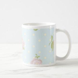 vintage floral polka dot blue red white shabby mugs