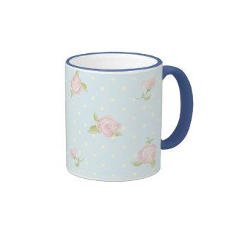 vintage floral polka dot blue red white shabby coffee mugs