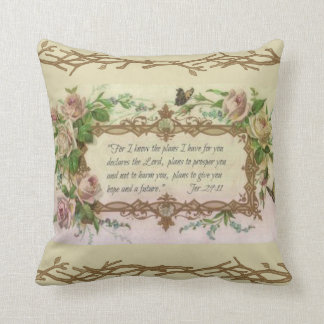 Vintage Floral Prayer Scripture Quote Cushion