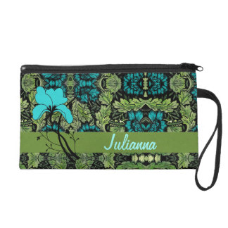 Vintage Floral Print in Green and Blue Wristlet Purse