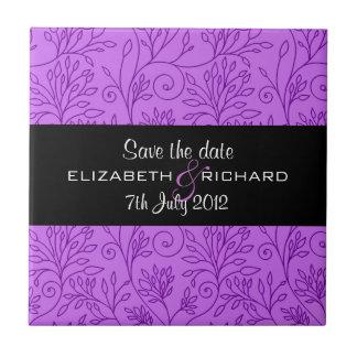 Vintage floral purple Save the date Tile