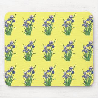 Vintage Floral, Purple Spring Garden Irises Mouse Pad