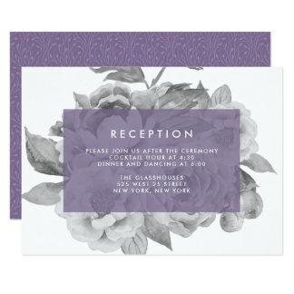 Vintage Floral Reception Card | Violet 9 Cm X 13 Cm Invitation Card