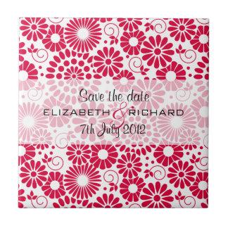 "Vintage floral red ""Save the date"" Tile"