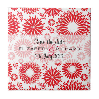 Vintage floral red Save the date Tile