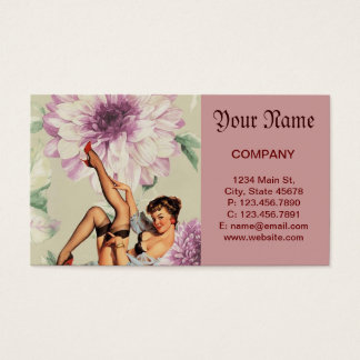 vintage floral retro pin up girl business card