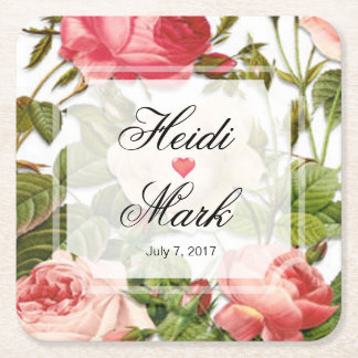 Vintage Floral Romance Pink Roses Square Paper Coaster