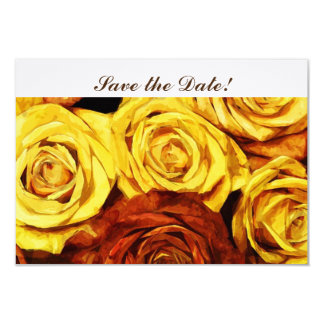 """Vintage Floral Rose Gold Copper Save the Date 3.5"""" X 5"""" Invitation Card"""