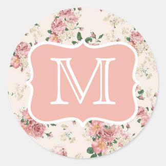 Vintage Floral Rose Monogram Classic Round Sticker