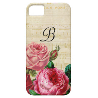 Vintage Floral Rose Monogram iPhone 5 Cases