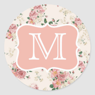 Vintage Floral Rose Monogram Round Sticker