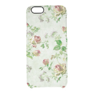 Vintage floral rose pattern shabby roses clear clear iPhone 6/6S case