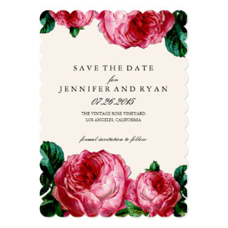 Vintage Floral Rose Save the Date Card
