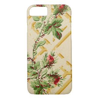 Vintage Floral Rose Trellis Wallpaper Pattern iPhone 8/7 Case