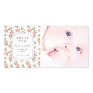 Vintage Floral Roses - Any Occasion Thank you Custom Photo Card