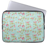 Vintage floral roses blue shabby chic rose flowers computer sleeve