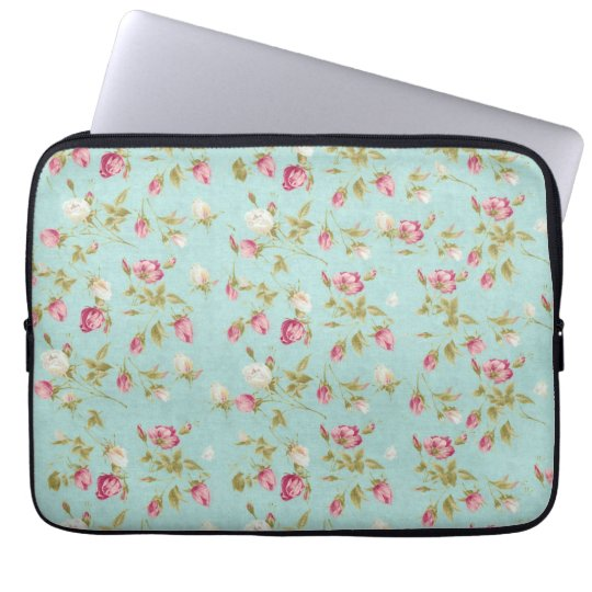 Vintage floral roses blue shabby chic rose flowers laptop sleeve