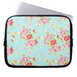 Vintage floral roses blue shabby rose flowers chic laptop sleeves