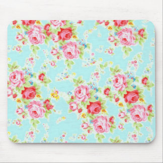 Vintage floral roses blue shabby rose flowers chic mouse pad