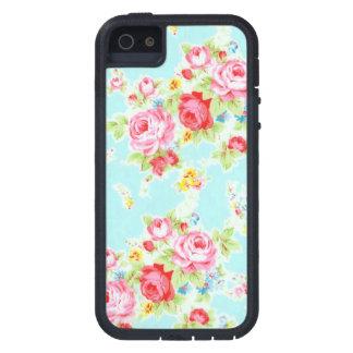 Vintage floral roses blue shabby rose pattern iPhone 5 case