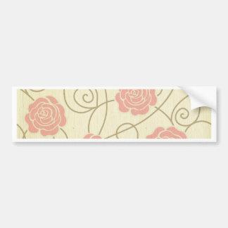 vintage floral roses coral beige elegant girly bumper sticker