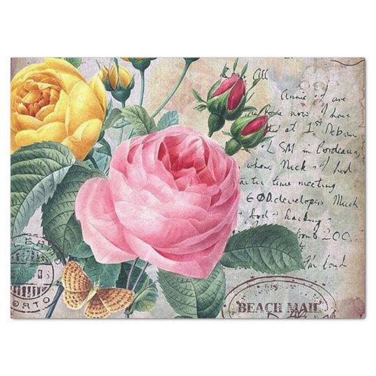 Vintage floral roses pattern party tissue tissue paper