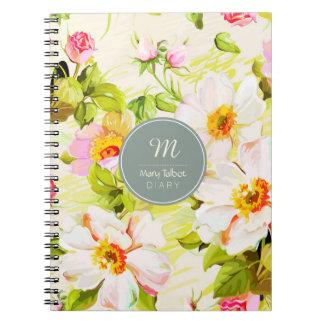 Vintage Floral Roses Peonies Monogram Diary NoteB Notebook