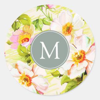 Vintage Floral Roses Peonies Monogram R Sticker