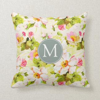 Vintage Floral Roses Peonies Monogram Sq Pillow