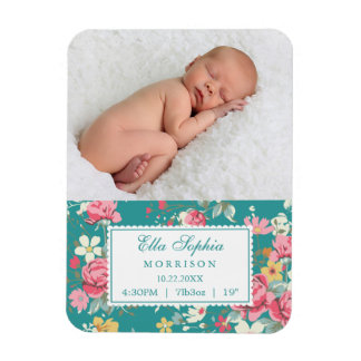 Vintage Floral Roses Photo Birth Announcement Rectangular Photo Magnet