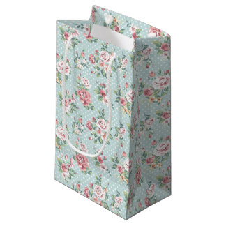 Vintage Floral Roses Small Gift Bag