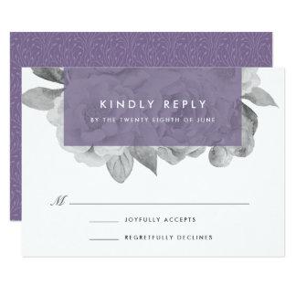 Vintage Floral RSVP Card | Violet 9 Cm X 13 Cm Invitation Card