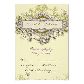 Vintage Floral RSVP Cards for Square Invites