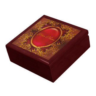 Vintage floral ruby womans name large square gift box