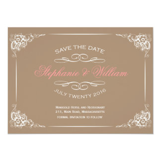 Vintage Floral Save The Date Card in Mocha
