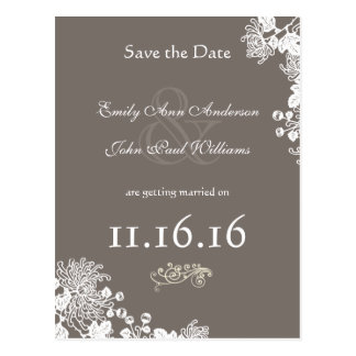 Vintage Floral Save the Date Driftwood Gray Postcard