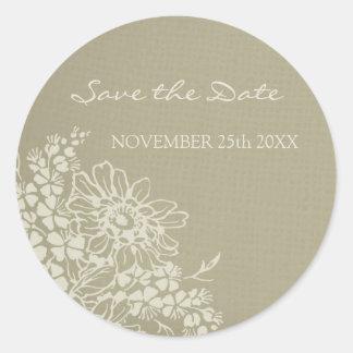 Vintage Floral Save the Date Envelope Seal Round Sticker