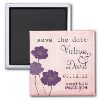 Vintage Floral Save the Date Magnet