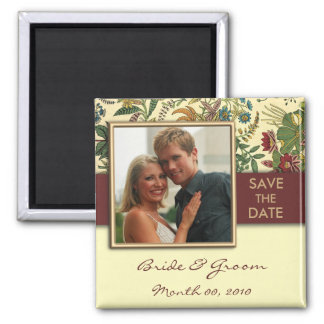 Vintage Floral Save the Date Photo Magnets