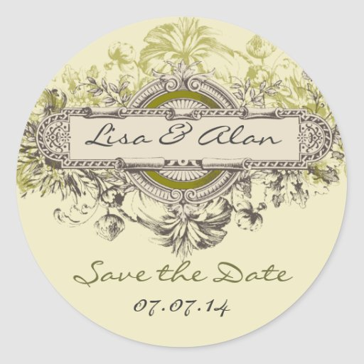 Vintage Floral Save The Date Sticker