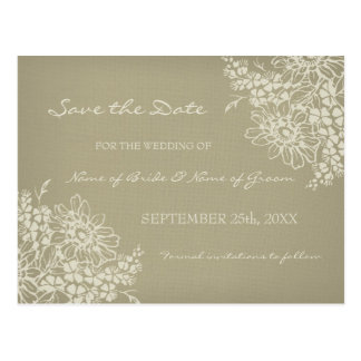 Vintage Floral Save the Date Wedding Postcards