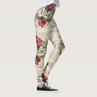 Vintage Floral Sheet Music Notes Muse Leggings
