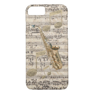 Vintage Floral Sheet Music Saxophone & Gold Music iPhone 8/7 Case