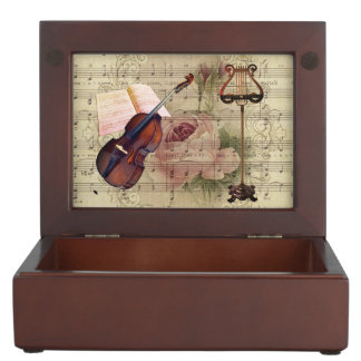 Vintage Floral Sheet Music Violin & Music Stand Keepsake Box