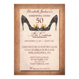 Vintage Floral Shoe 50th Birthday Invitation