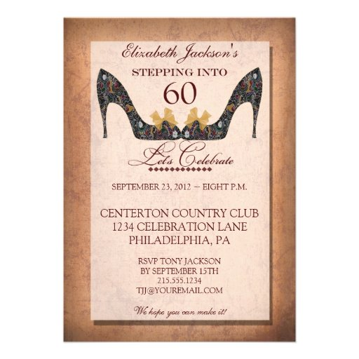 Vintage Floral Shoe 60th Birthday Party Invitation